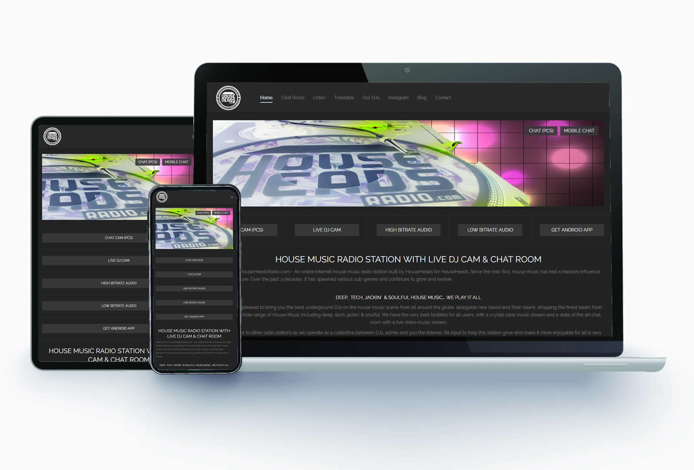 House Heads Radio - Site design, build,  SEO & a chatroom for listeners